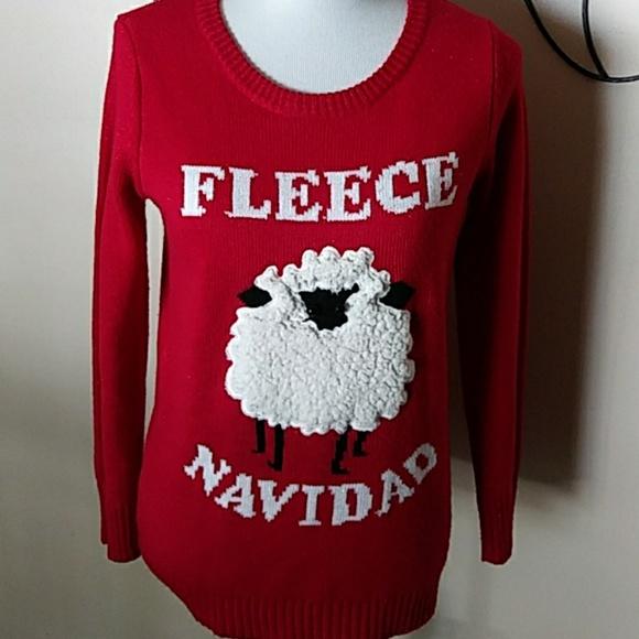 Mens Fleece Navidad Ugly Christmas Sweater Feliz Sheep Winter Fun T-shirt